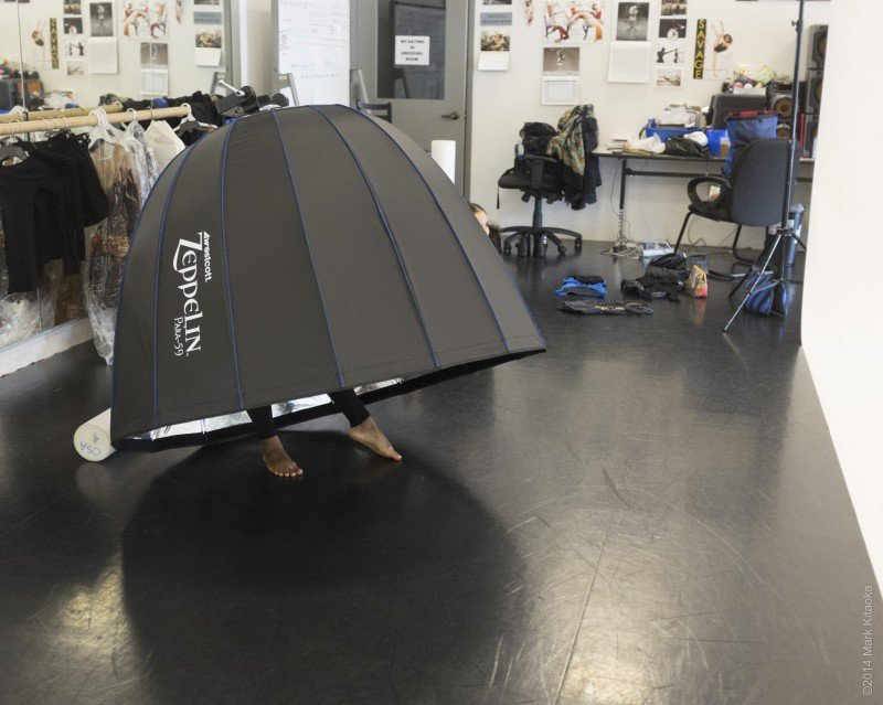 Although she's only 5-2 one of Savage Jazz Dance Company's dancers clowns around by using my Zeppelin as her personal tent!