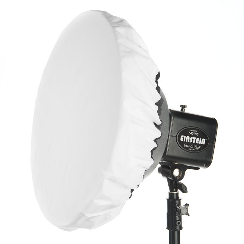 "Omni with 3 stop diffuser sock installed. Note: the included diffusion sock is large enough to fit a 22"" beauty dish."