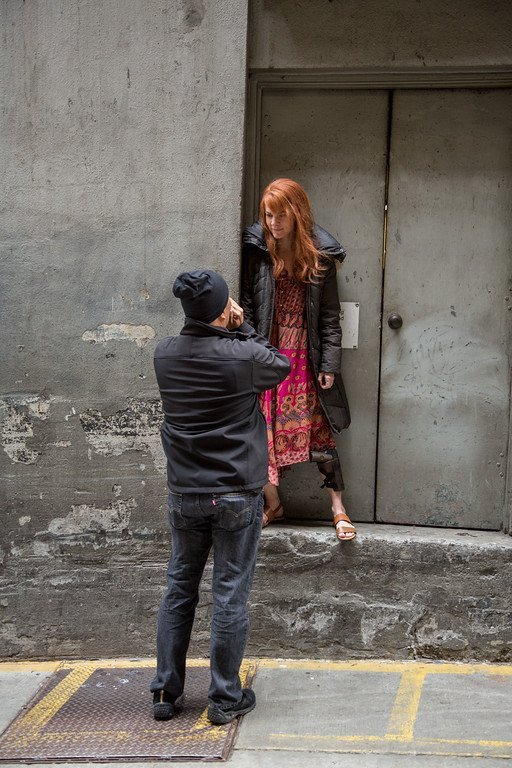 Going over the mood of the shot with Laura.